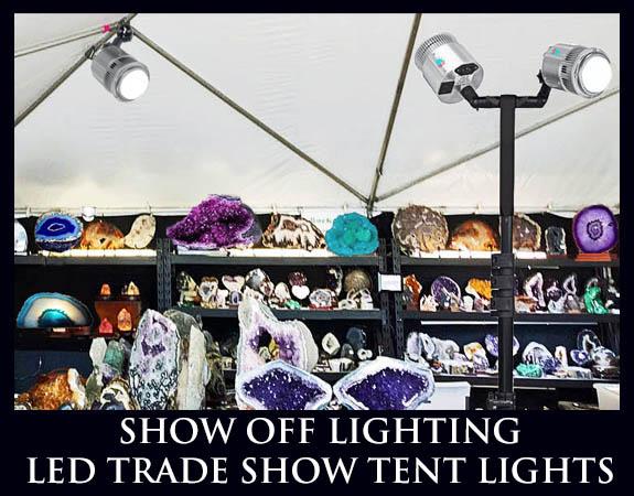 pop up tent lights, trade show tent lights, craft show tent light, mineral tent lights