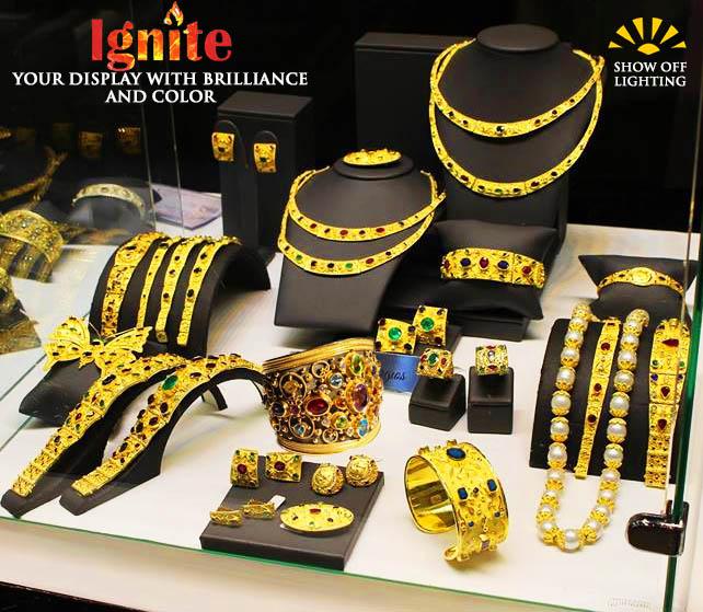 jewelry display lights, jewelry lighting, diamond lighting, trade show lights