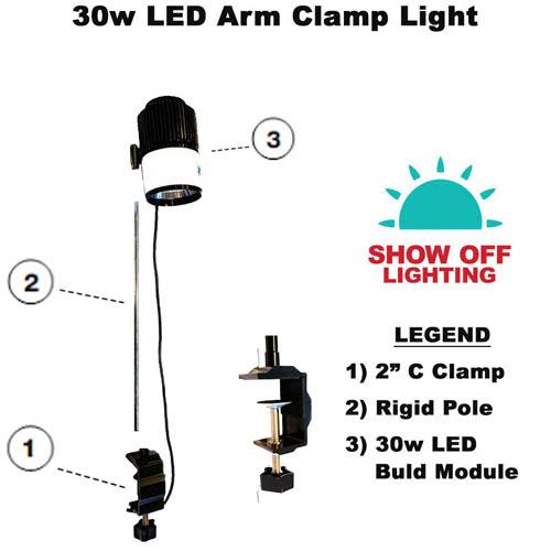 30w LED arm clamp lights