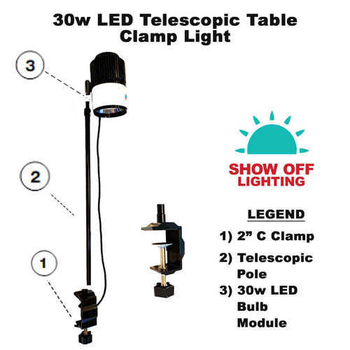 LED table clamp light with telescopic pole